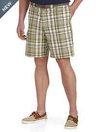 Oak Hill® Flat-Front Plaid Shorts