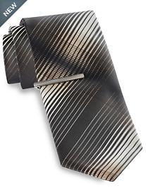 Gold Series® Ombré Gradient Stripe Tie with Tie Bar