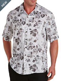 Island Passport® Tonal Leaf-Print Camp Shirt