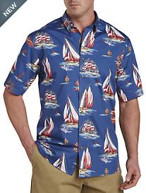 Harbor Bay® Nautical Boat Print Sport Shirt