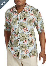 Island Passport® Leaf Print Camp Shirt