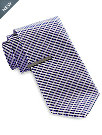 Gold Series® Mini Gingham Grid Tie with Tie Bar