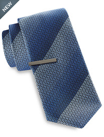 Gold Series® Ombré Patterned Stripe Tie with Tie Bar