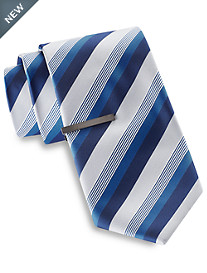 Gold Series® Tonal Matte Stripe Tie with Tie Bar