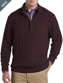 Oak Hill® 1/4-Zip Cabled Sweater