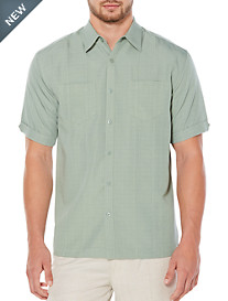 Cubavera® Lily Pad Double-Pocket Panel Sport Shirt
