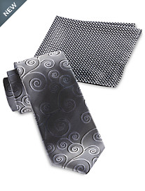 Synrgy™ Tonal Swirl Tie and Pocket Square Combo