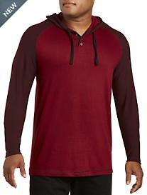 PX Clothing Contrast Raglan-Sleeve Henley Hoodie