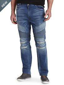 MVP Collections 5-Pocket Stretch Moto Jeans