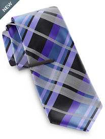 Gold Series Vibrant Exploded Plaid Tie With Tie Bar