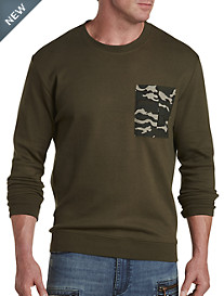 Crewneck Sweatshirt with Camo Pocket