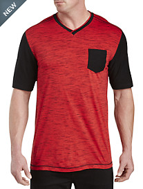 PX Clothing 2-Tone Contrast-Sleeve V-Neck Tee