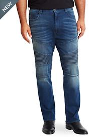 MVP Collections Dark Indigo Moto Jeans