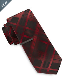 Gold Series Overlapping Plaid Tie with Tie Bar