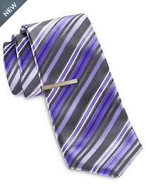 Gold Series Stripe on Stripe Tie with Tie Bar
