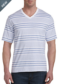 Harbor Bay® Stripe V-Neck Tee-New and Improved Fit