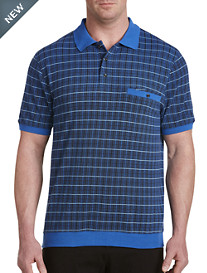 Harbor Bay® Banded-Bottom Plaid Polo-New and Improved Fit