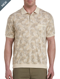 Harbor Bay® Leaf Print Banded-Bottom Polo-New and Improved Fit