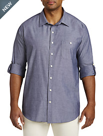 True Nation® Roll-Sleeve Chambray Sport Shirt