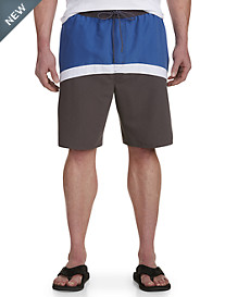 True Nation® Curved Colorblock Swim Trunks