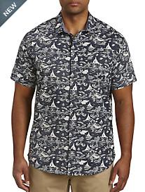 Twenty-Eight Degrees Boat & Palm Print Sport Shirt