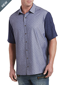 Mixed Media Patterned Sport Shirt