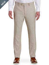 Oak Hill® Waist-Relaxer® Flat-Front Linen-Blend Suit Pants