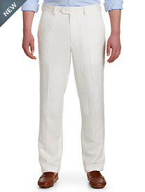 Oak Hill® Flat-Front Linen-Blend Suit Pants