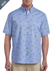 Harbor Bay® Easy-Care Boat Wheel Print Sport Shirt