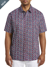 Harbor Bay® Wavy Fish Print Sport Shirt