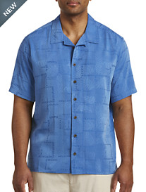 Island Passport® Tonal Leaf Pattern Camp Shirt
