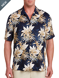 Island Passport® Floral and Leaf Print Camp Shirt