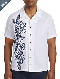 Island Passport® Floral Print Panel Camp Shirt