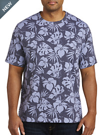 Harbor Bay® Large Leaf Print No-Pocket Tee-New and Improved Fit
