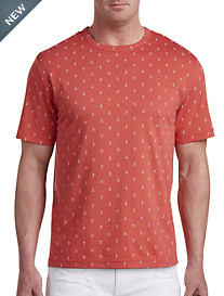 Harbor Bay® Anchor Print No-Pocket Tee-New and Improved Fit