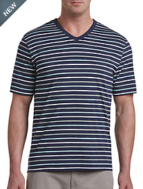 Harbor Bay® Multi-Stripe V-Neck Tee-New and Improved Fit