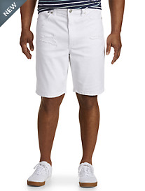 True Nation® White Athletic Rip-and-Repair Denim Shorts