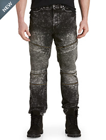 Acid Wash Moto Zippered Jeans