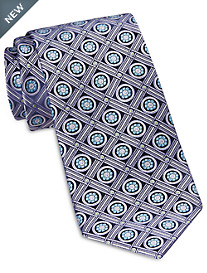 Rochester Designed in Italy Floral Grid Medallion Silk Tie
