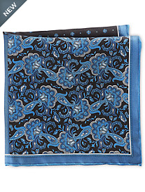 Rochester Dot Paisley Multi Silk Pocket Square