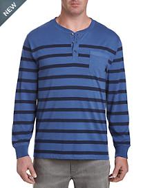 Harbor Bay Long-Sleeve Stripe Henley Shirt