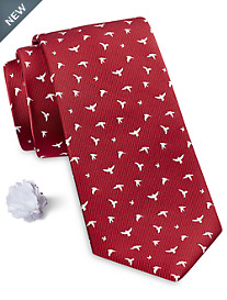 Synrgy™ Summer Bird Print Tie with Lapel Pin