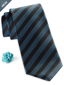 Synrgy Modern Bold Stripe Tie and Lapel Pin