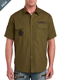 Snap-Front Military-Inspired Patch Sport Shirt