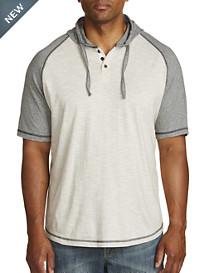 PX Clothing Raglan-Sleeve Hooded Henley