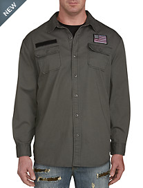 PX Clothing Hooded Twill Shirt Jacket