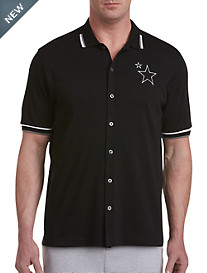 Star Embroidered Button-Front Tipped Polo