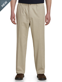 Harbor Bay® Elastic-Waist Twill Pants - Updated Fit, Unhemmed