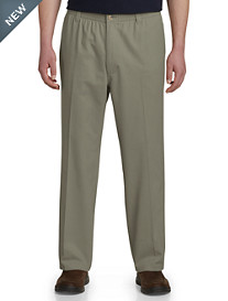 Harbor Bay® Elastic-Waist Twill Pants-Unhemmed
