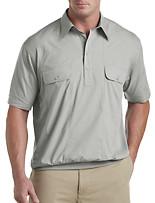 Banded-Bottom Mesh Panel Shirt